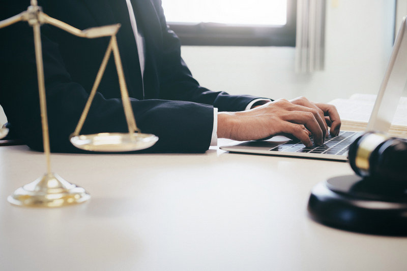 Concepts of law and legal. Lawyer or judge work in the office.