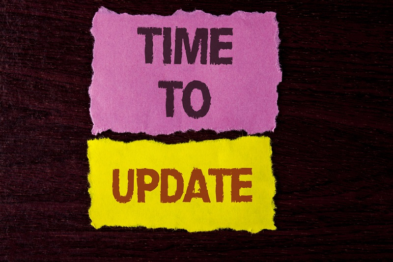 Writing note showing  Time To Update